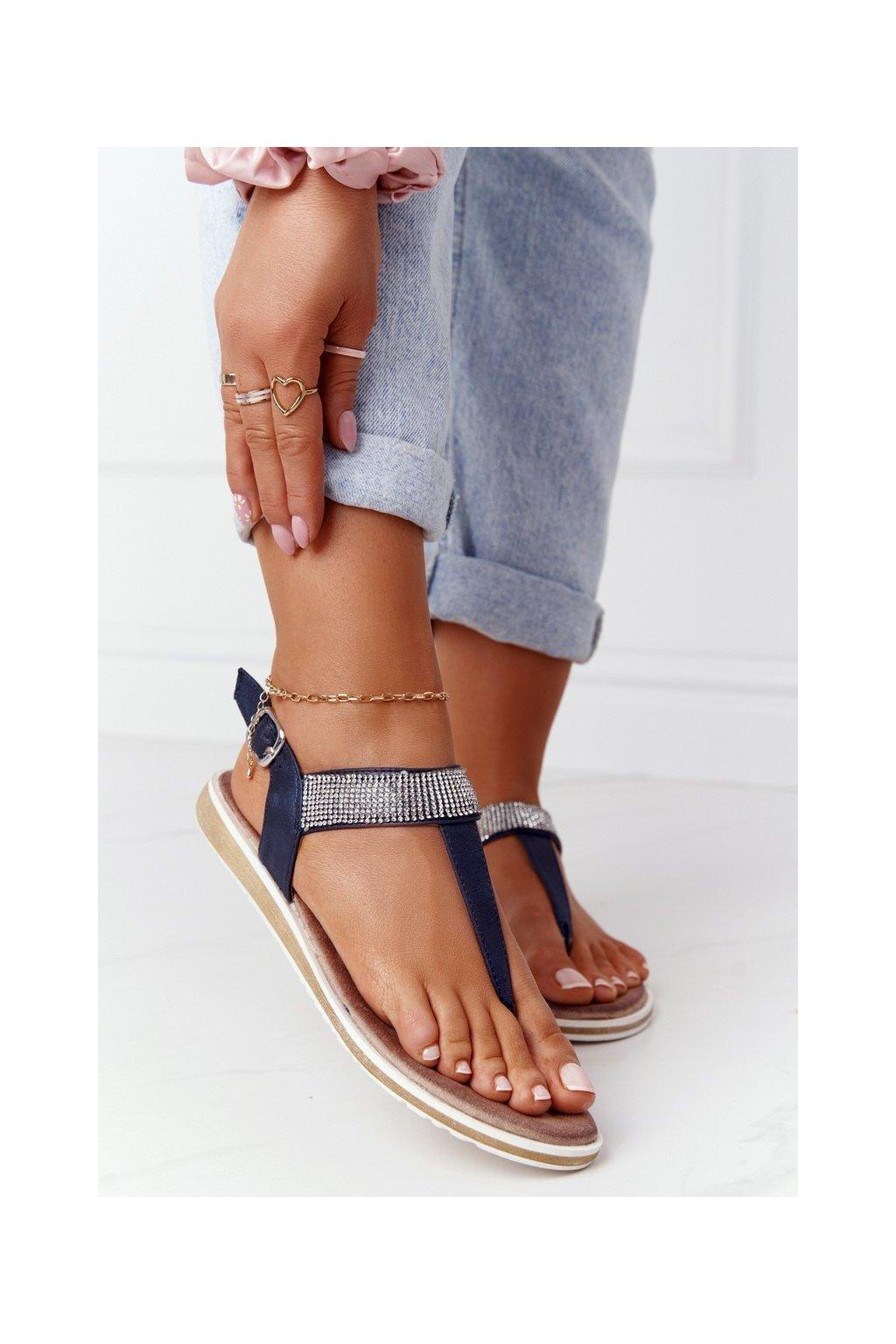 Dámske sandále farba hnedá kód obuvi 701-12 NAVY