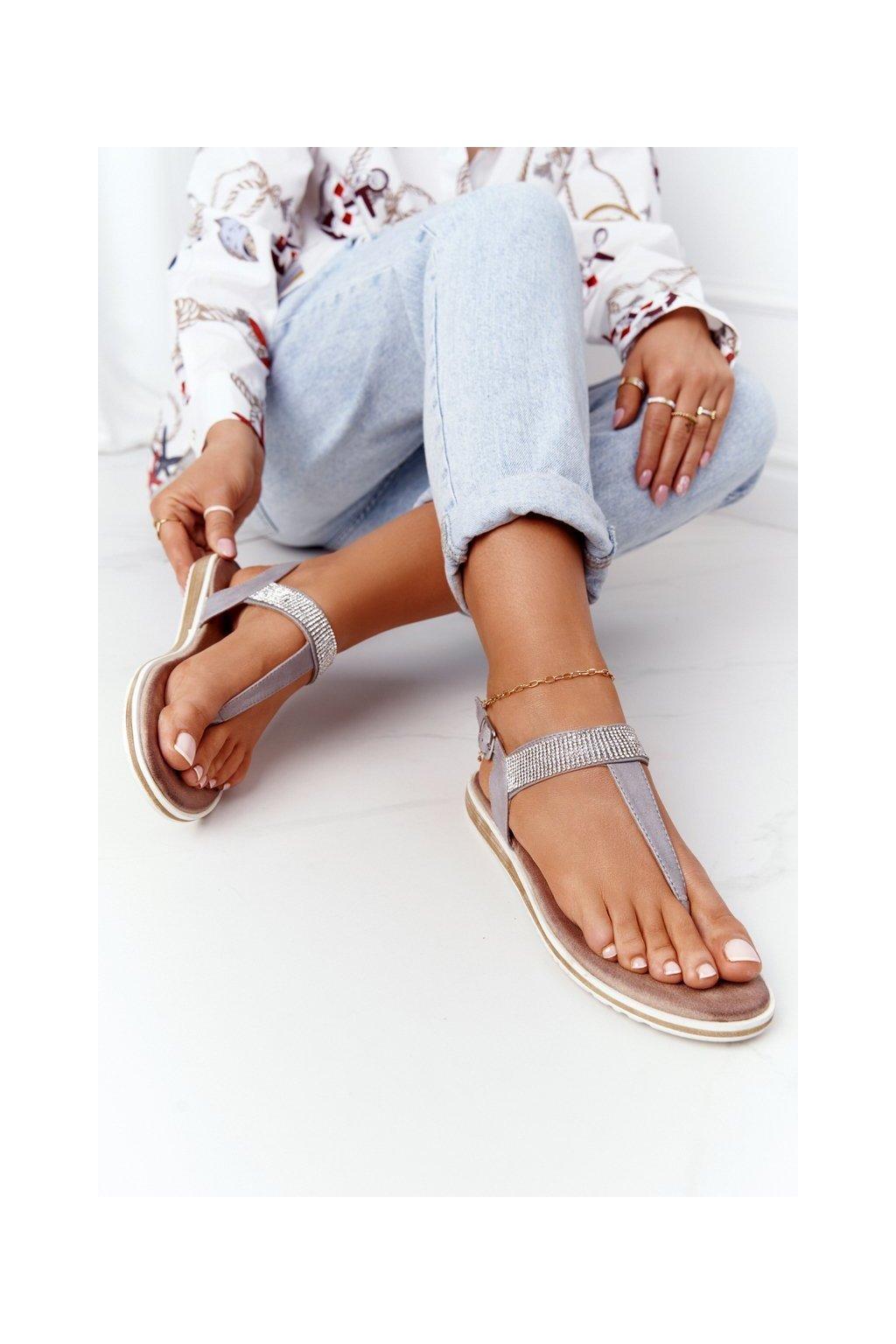 Dámske sandále farba hnedá kód obuvi 701-12 GREY