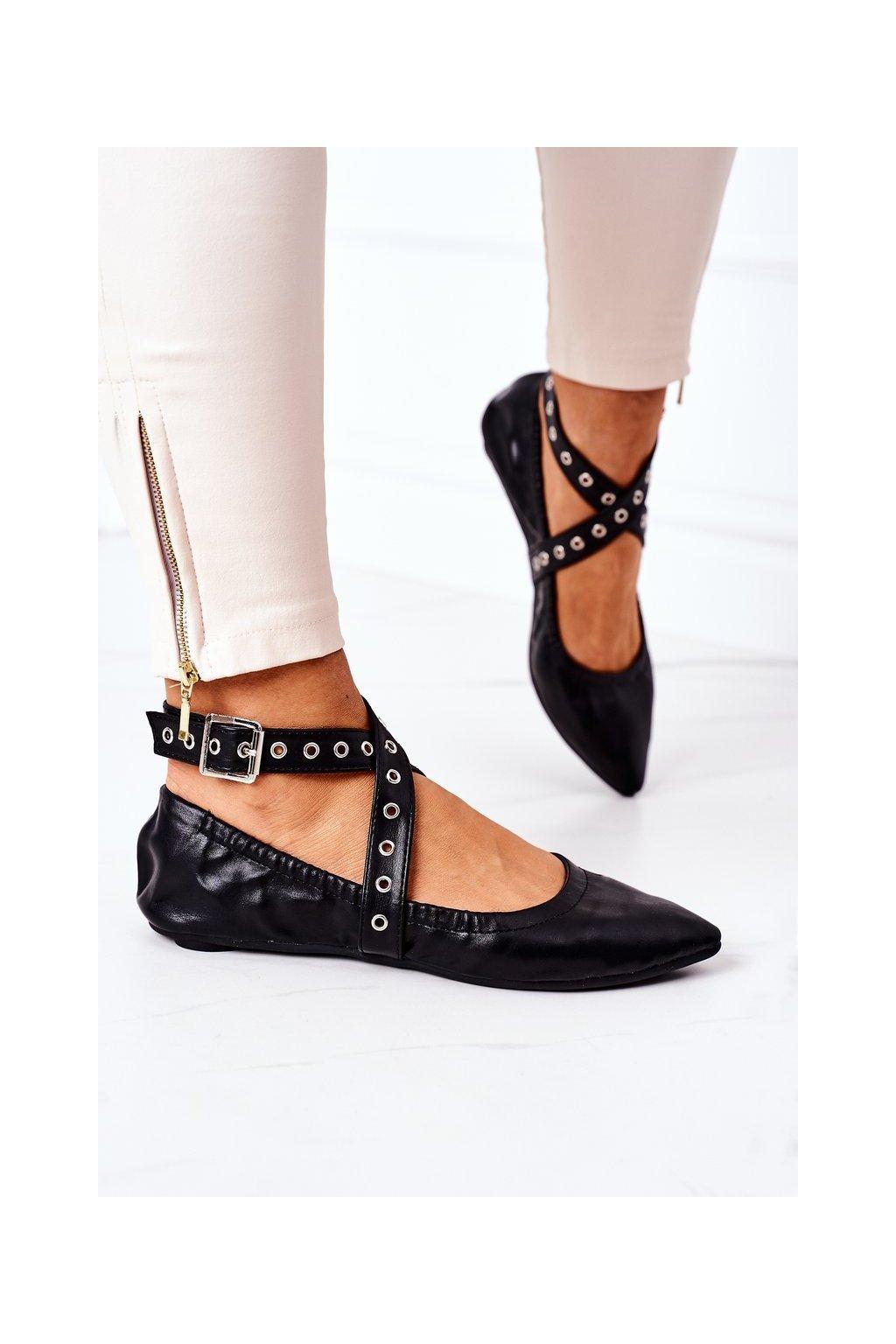 Dámske balerínky farba čierna kód obuvi B12-9 BLK