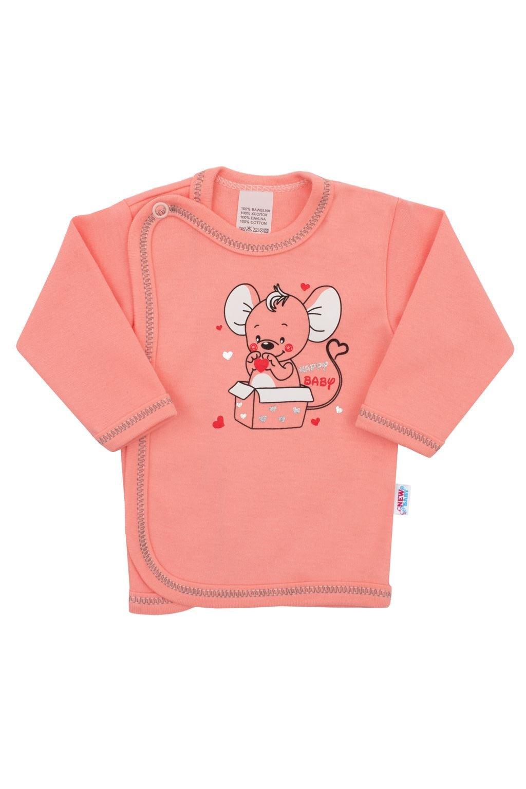 Dojčenská košieľka New Baby Mouse lososová NJSK 27073