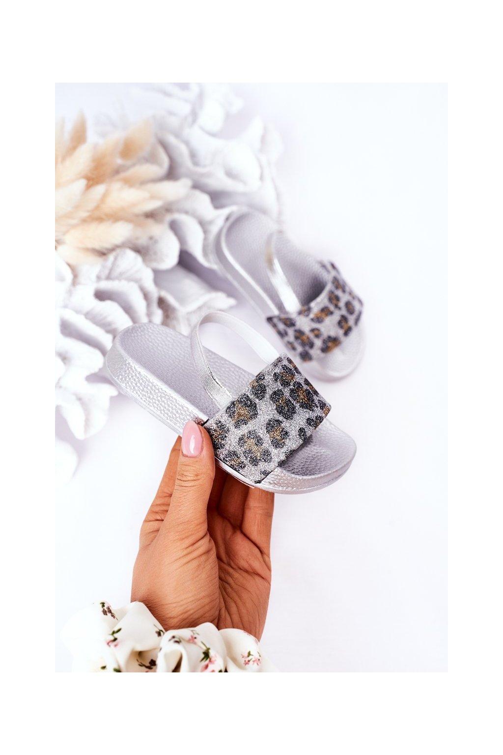 Detské šľapky farba sivá kód obuvi 291-A SILVER