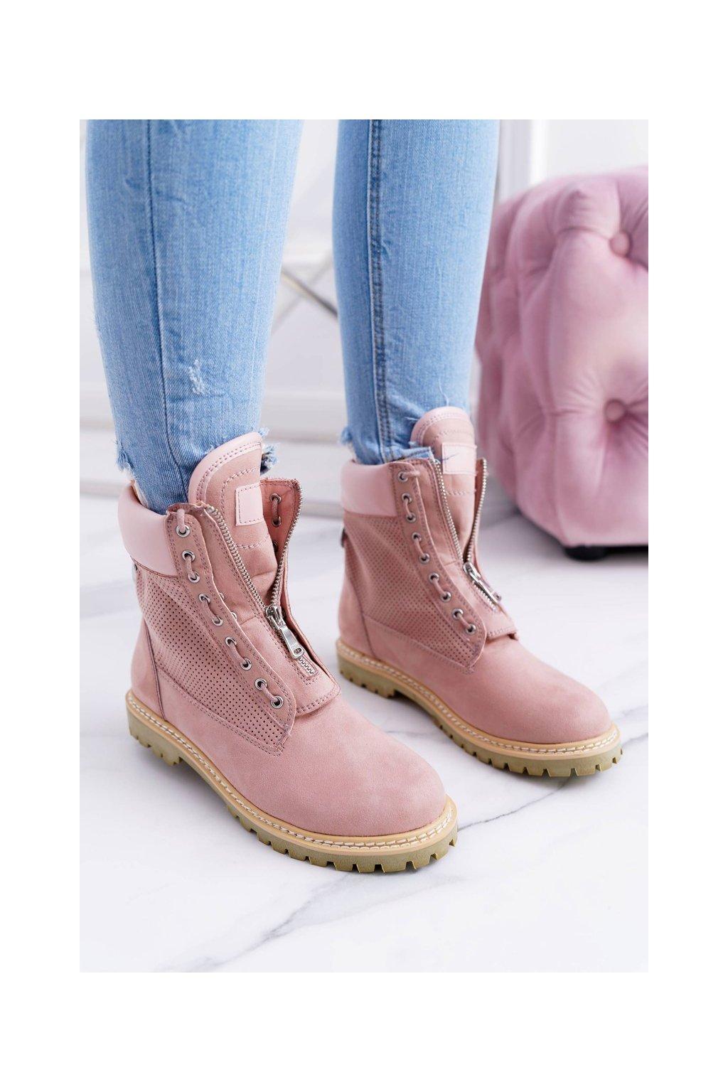 Členkové topánky na podpätku farba ružová kód obuvi XW37276 PINK