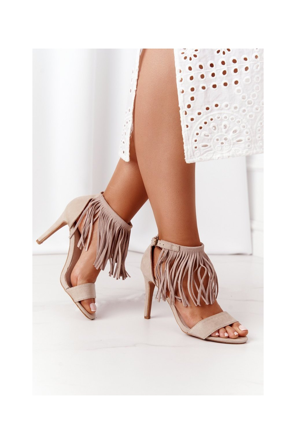 Dámske sandále farba hnedá NJSK LS39602 BEIGE