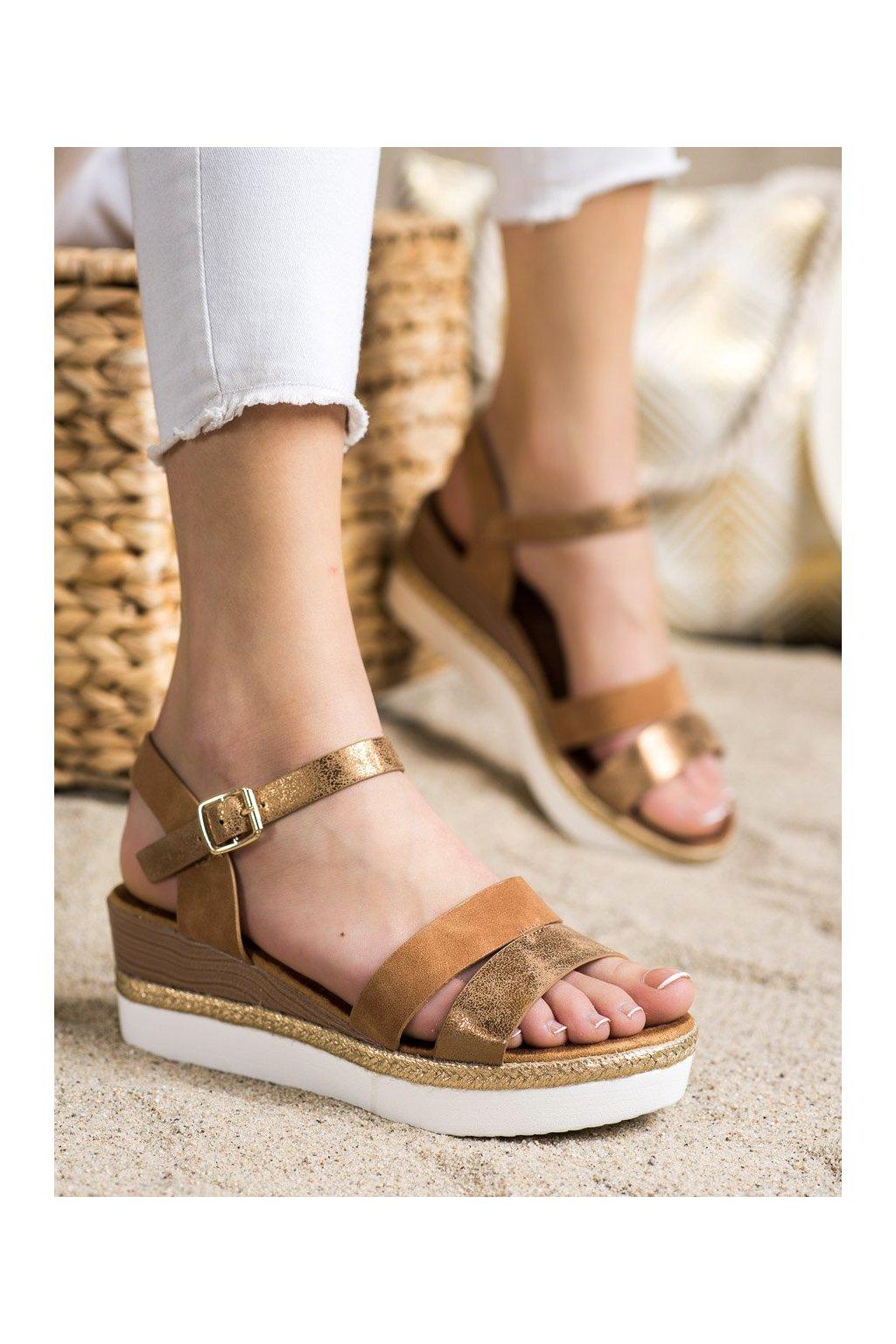 Hnedé sandále Shelovet kod W980C