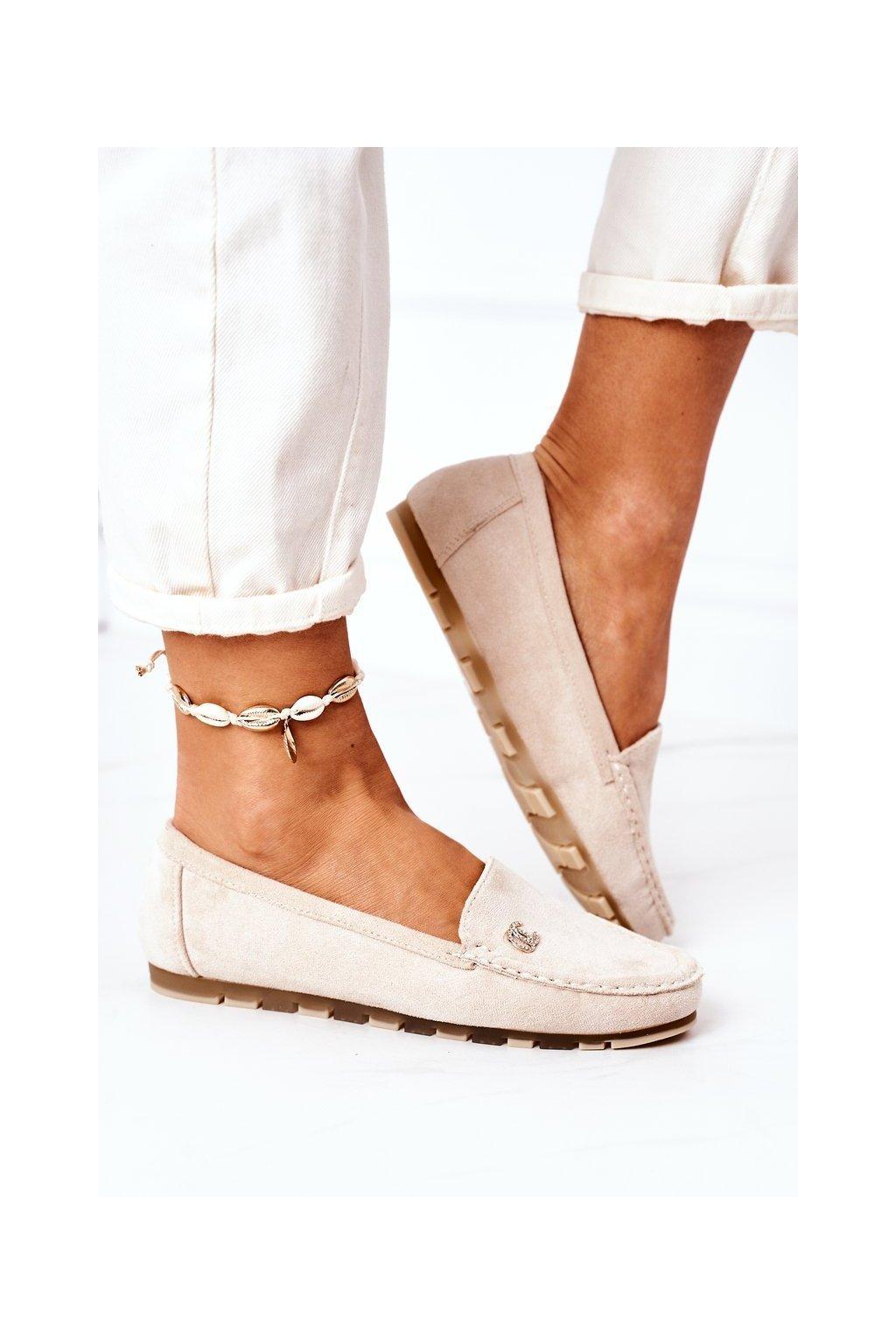 Dámske mokasíny farba hnedá kód obuvi GS14P BEIGE