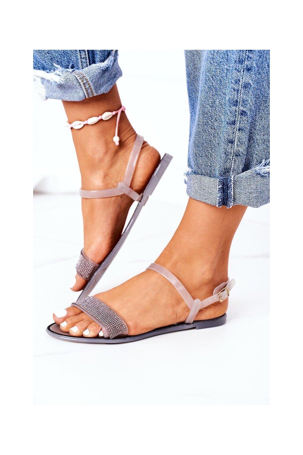 Dámske sandále farba sivá kód obuvi B609 GRAY