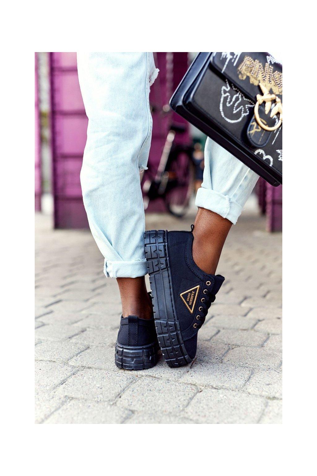 Dámske tenisky farba čierna kód obuvi GD-HR-28 BLACK