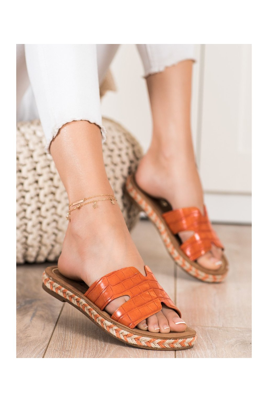 Oranžové dámske šľapky Shelovet kod 705OR