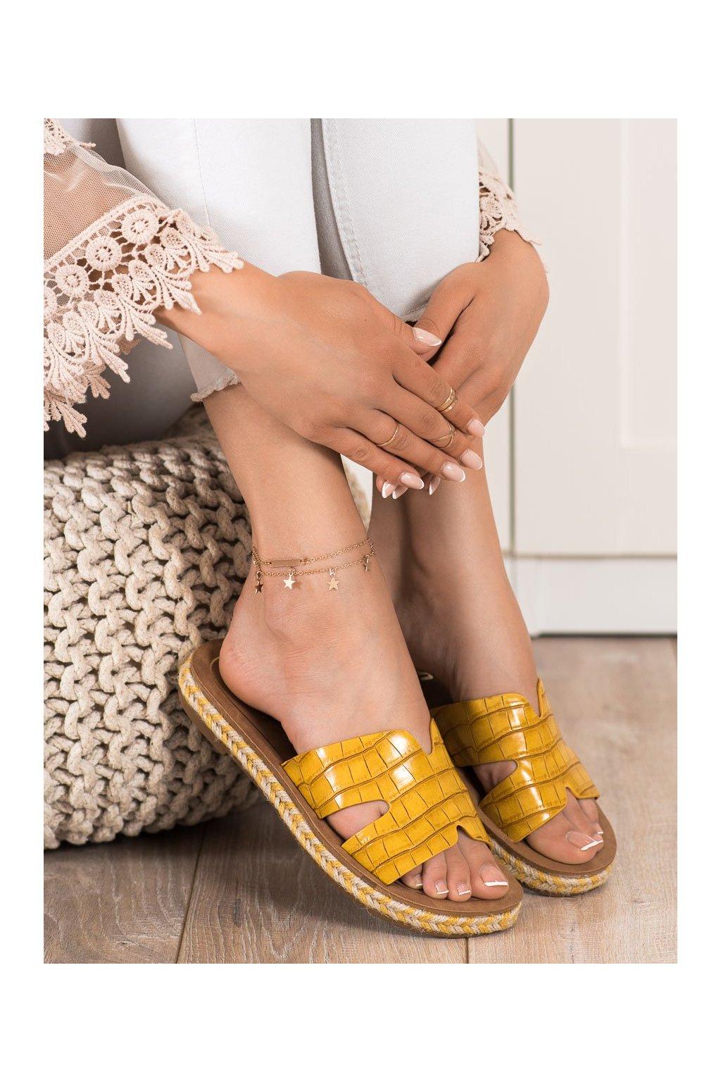 Žlté dámske šľapky Shelovet kod 705Y