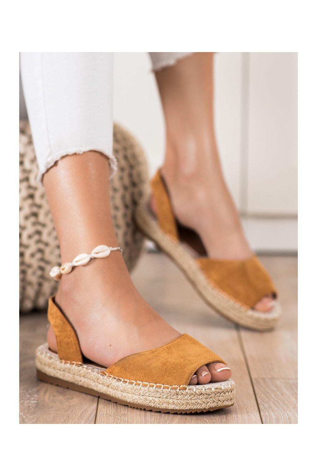 Hnedé sandále Ideal shoes kod 6915C