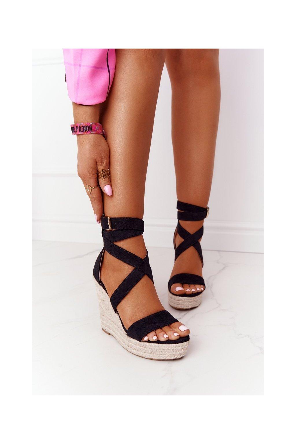 Dámske sandále na platforme farba čierna NJSK BL265 BLACK