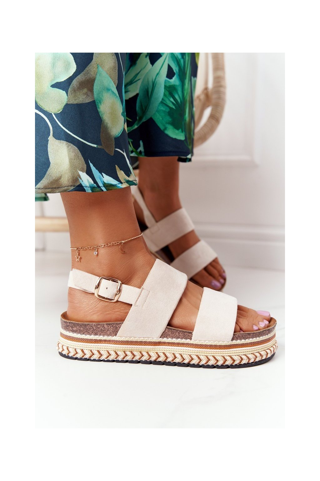 Dámske sandále NJSK 7857 BEIGE