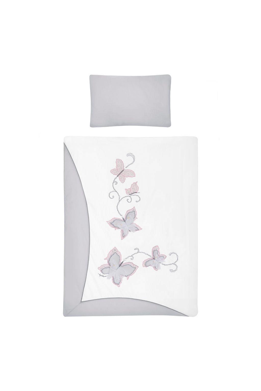 5-dielne posteľné obliečky Belisima Butterfly 90/120 sivé