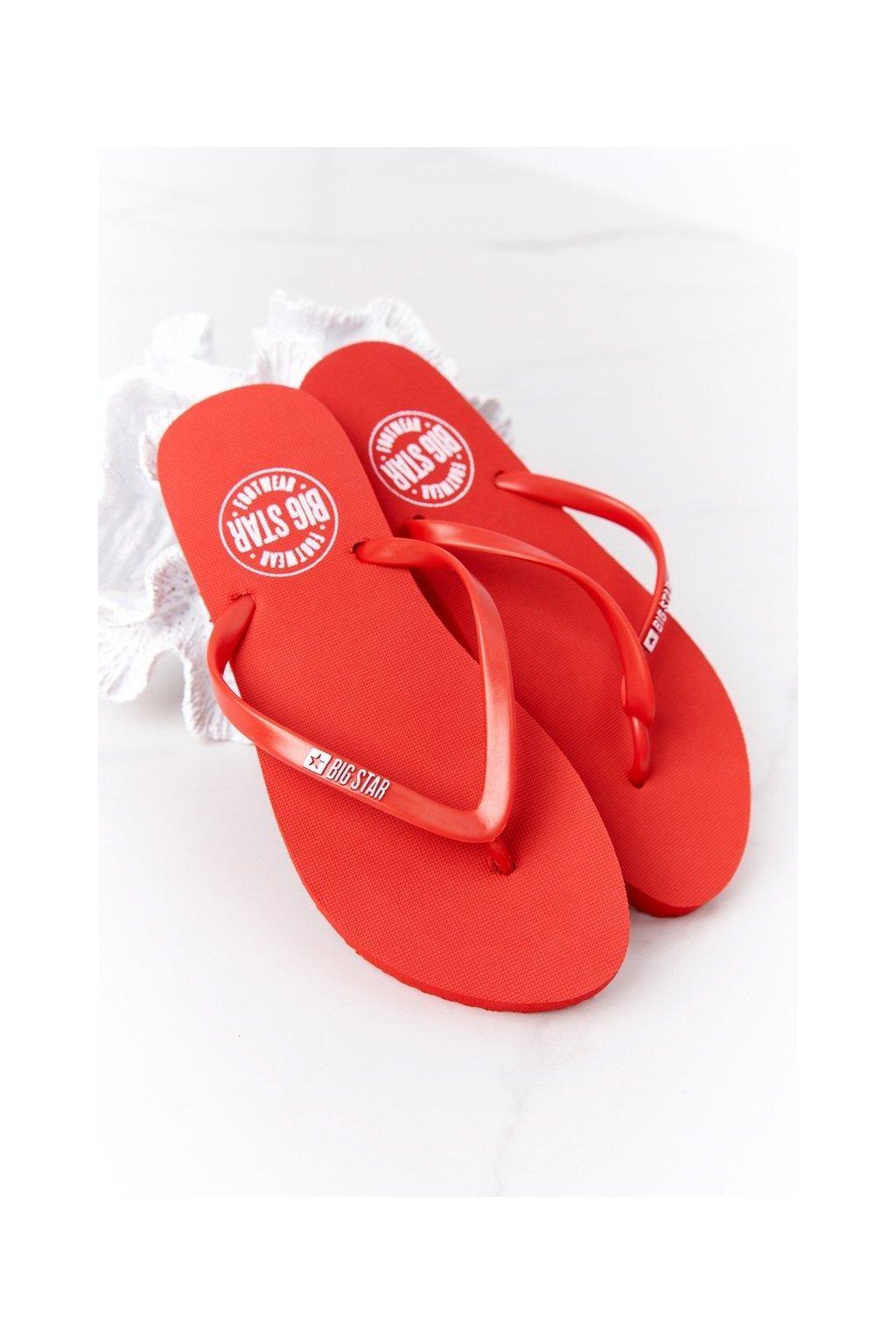 Dámske šľapky farba červená NJSK FF274A611 RED