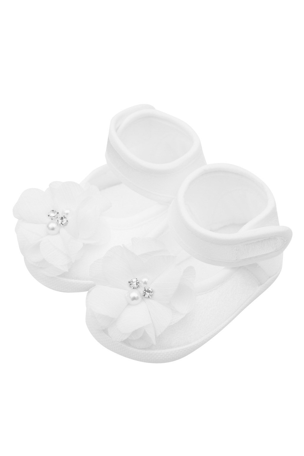 Dojčenské capačky New Baby saténové biele 0-3 m flower