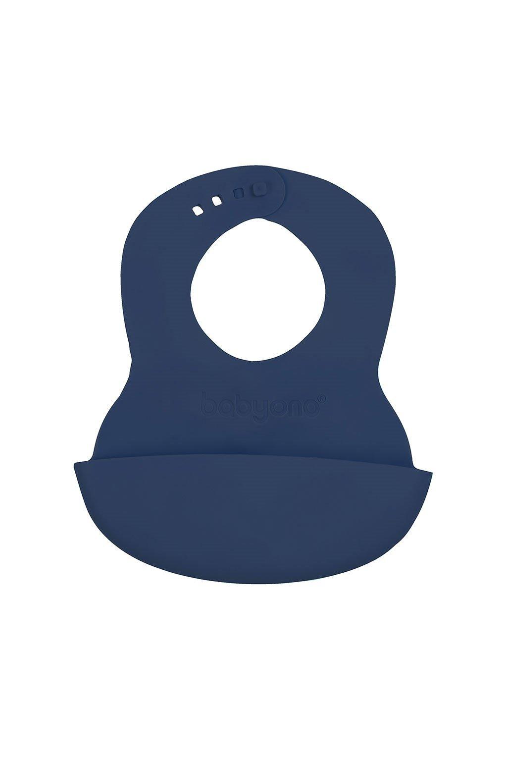 Nastaviteľný plastový podbradník s vreckom Baby Ono tmavomodrý