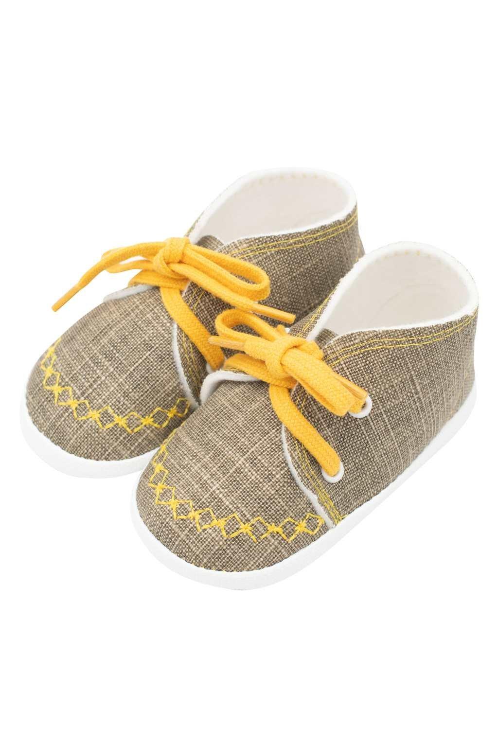 Dojčenské capačky tenisky New Baby jeans mustard 0-3 m