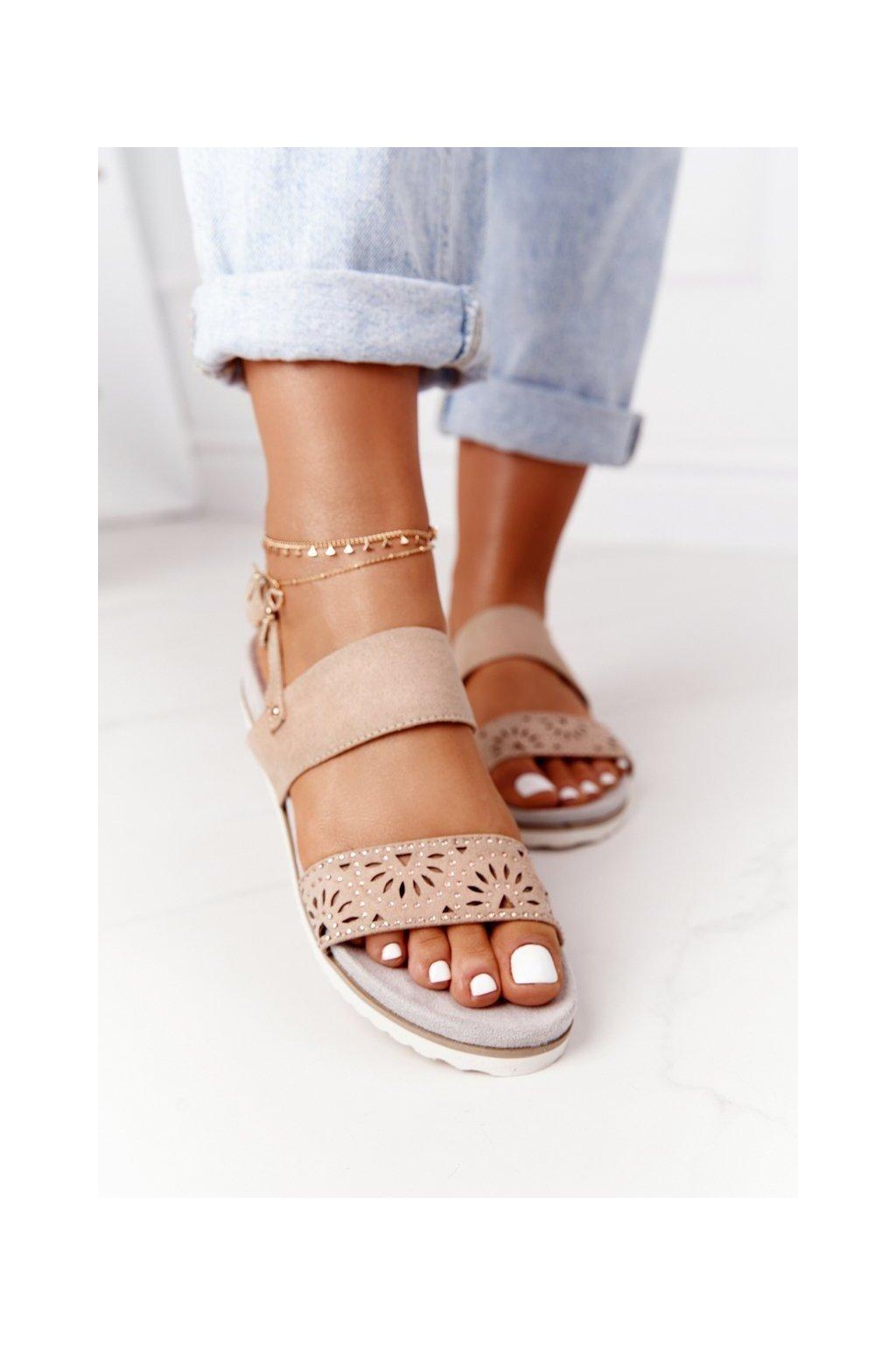 Dámske sandále farba hnedá kód obuvi 9SD35-0991 BEIGE