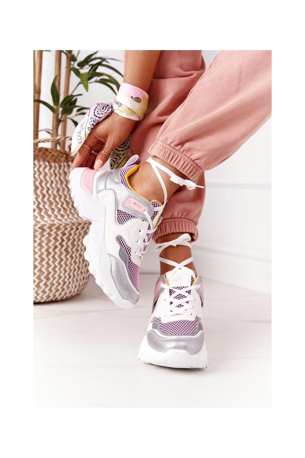 Dámske tenisky farba ružová kód obuvi 21SP26-3972 WHITE PINK