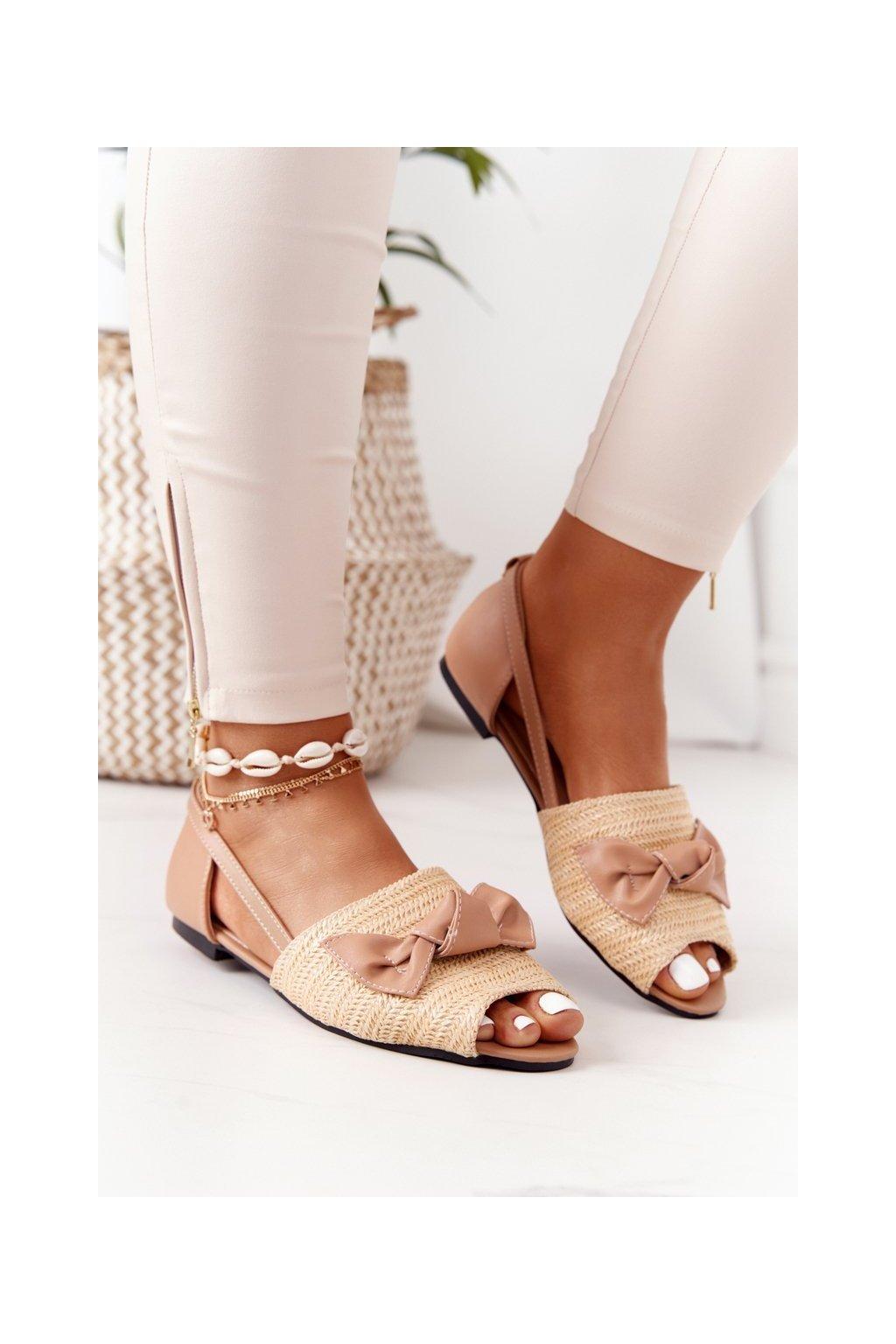 Dámske sandále farba hnedá kód obuvi 669-50 APRICOT