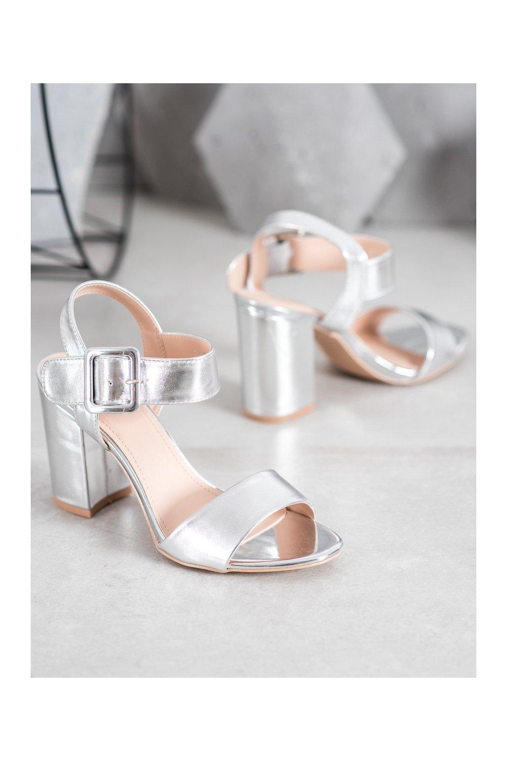 Sivé sandále na podpätku NJSK S1765S