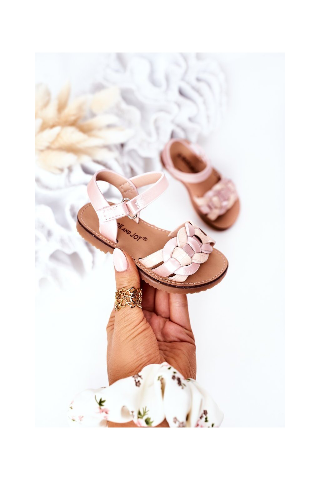 Detské sandále farba ružová NJSK 282-B PINK / CHAMPAGNE