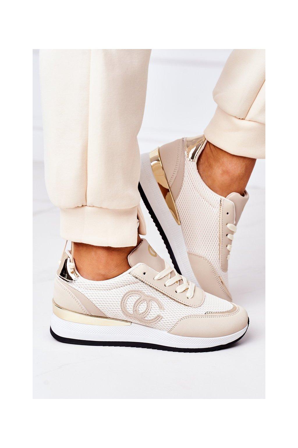 Dámske tenisky farba hnedá kód obuvi 21SP26-4274 BEIGE