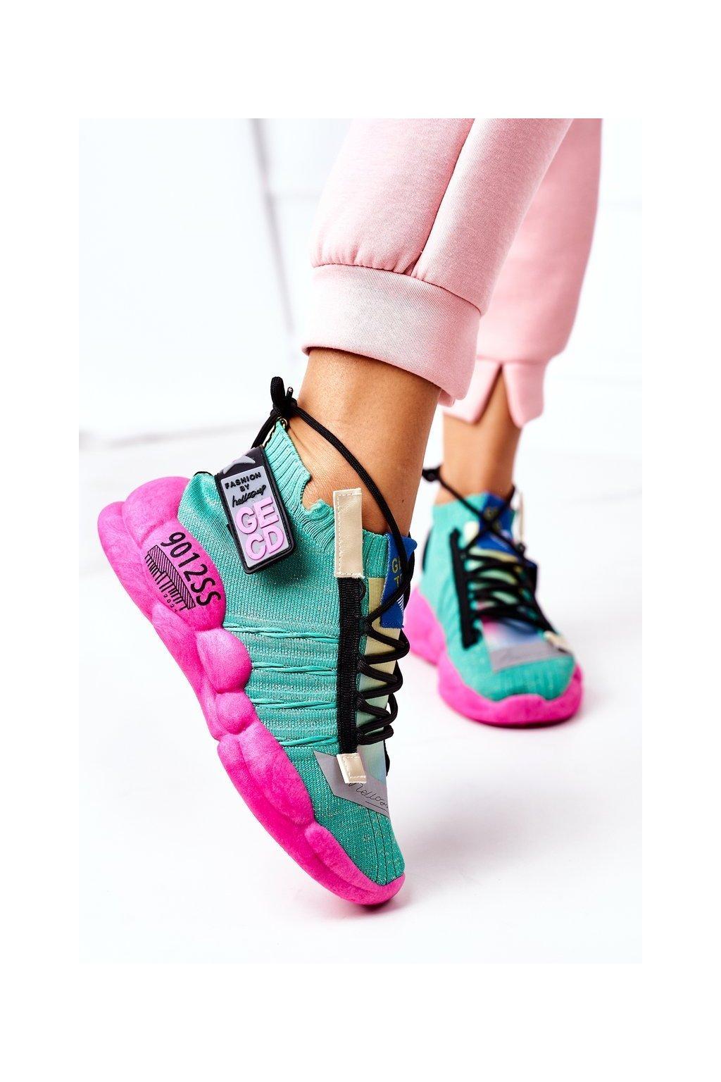 Dámske tenisky farba ružová kód obuvi LA69 GREEN