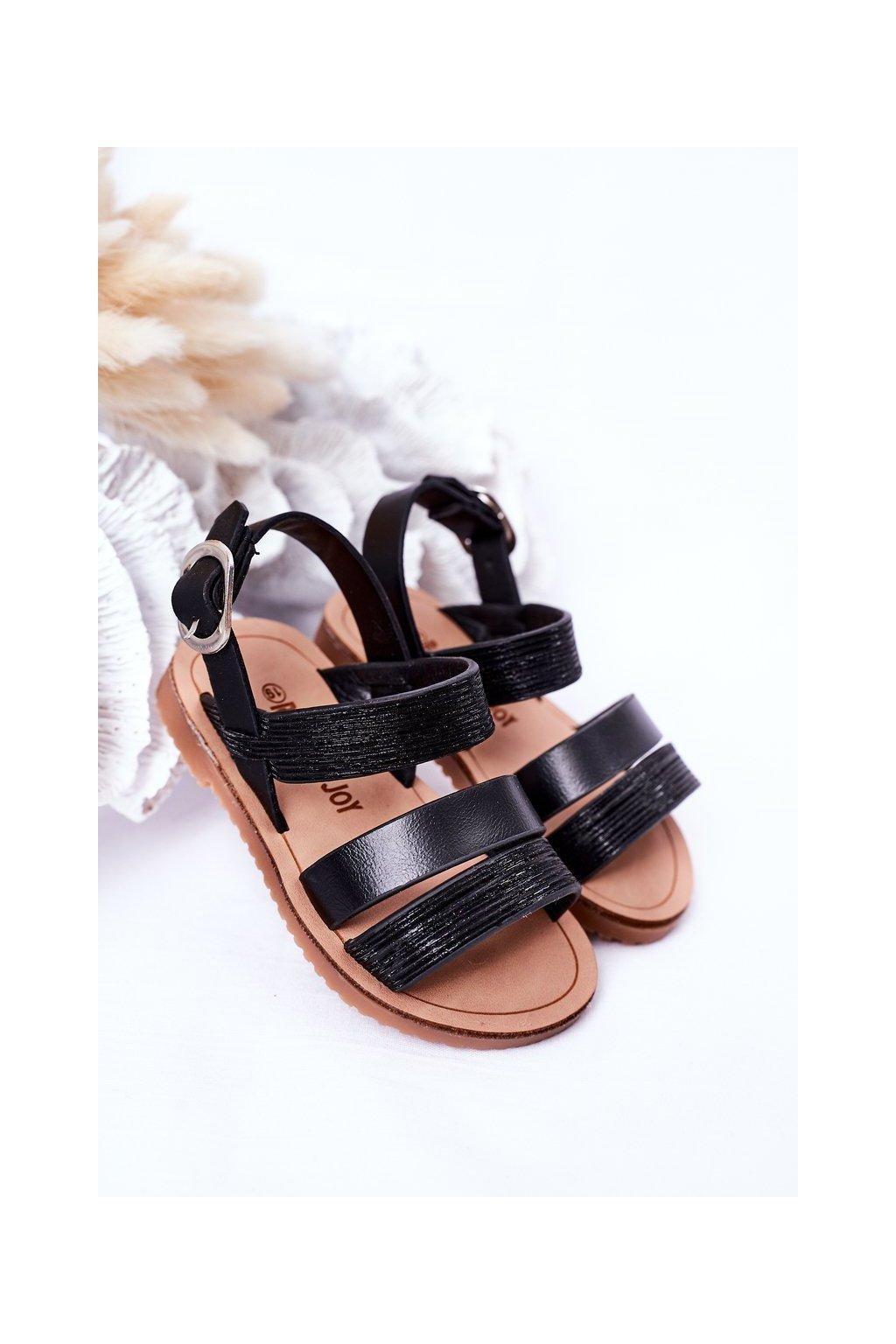Detské čierne sandále NJSK 255-1A