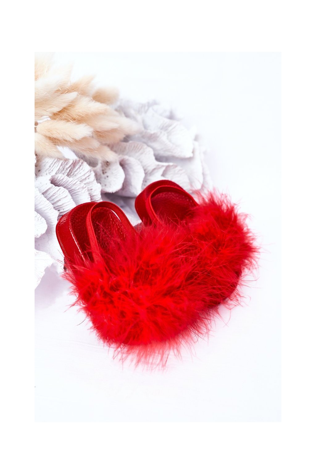 Detské červené šľapky NJSK 20151-D