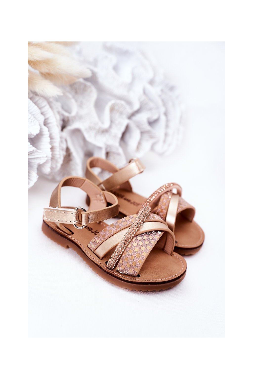 Detské sandále farba žltá NJSK 271-C GOLD