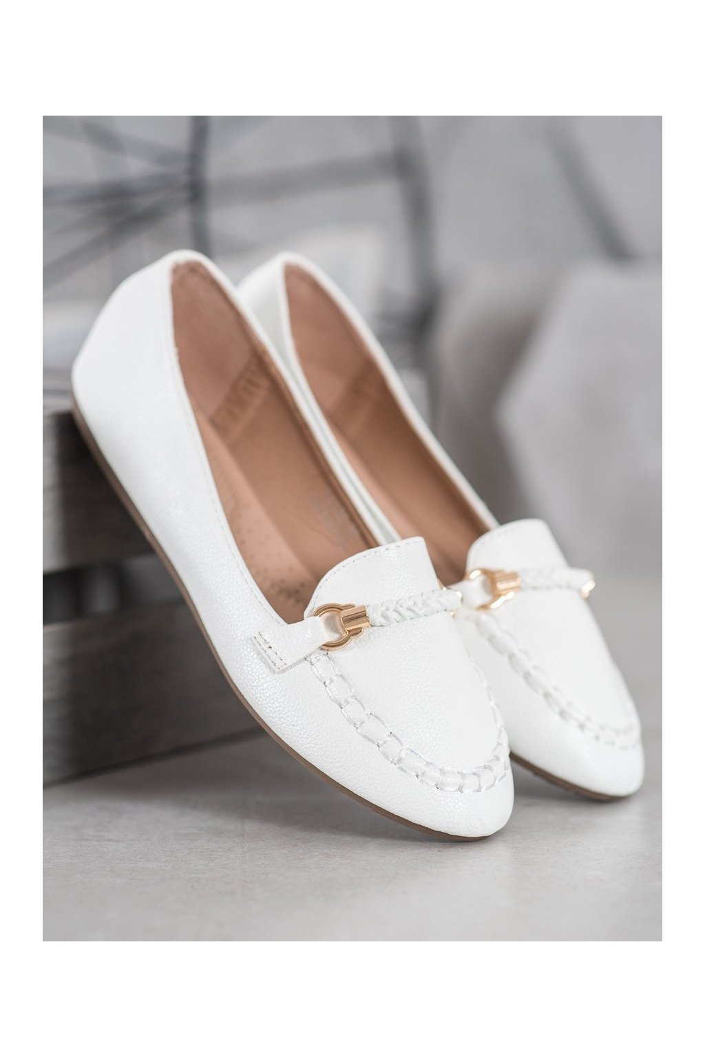 Biele dámske baleríny Shelovet NJSK A8636W