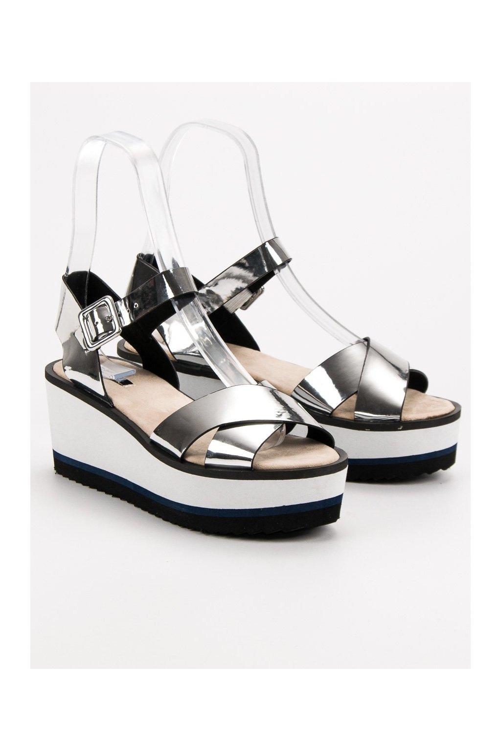 Sivé dámske sandále na platforme Corina C7261PL