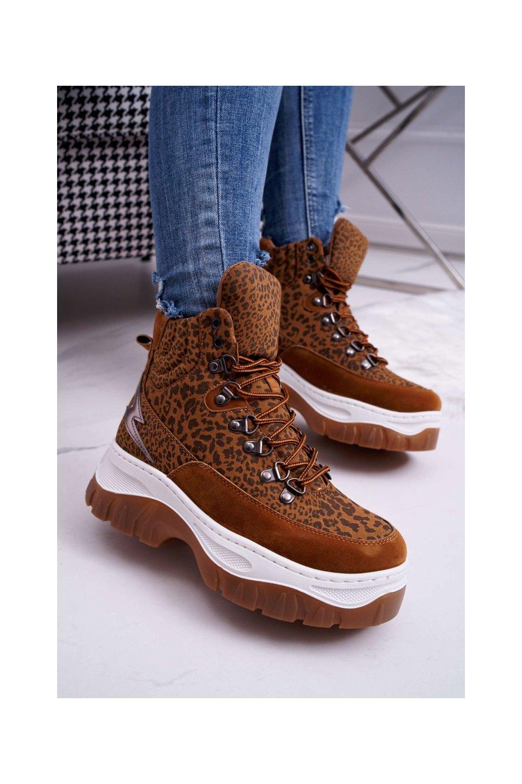 Dámske trekové topánky farba hnedá NJSK HE104