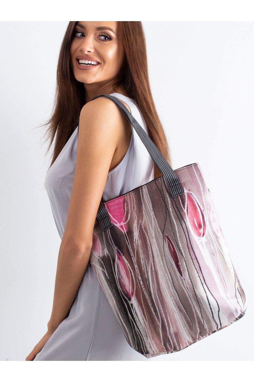 Textílna kabelka ružová kód CE-TR-010.64P/VivaNewTulipany