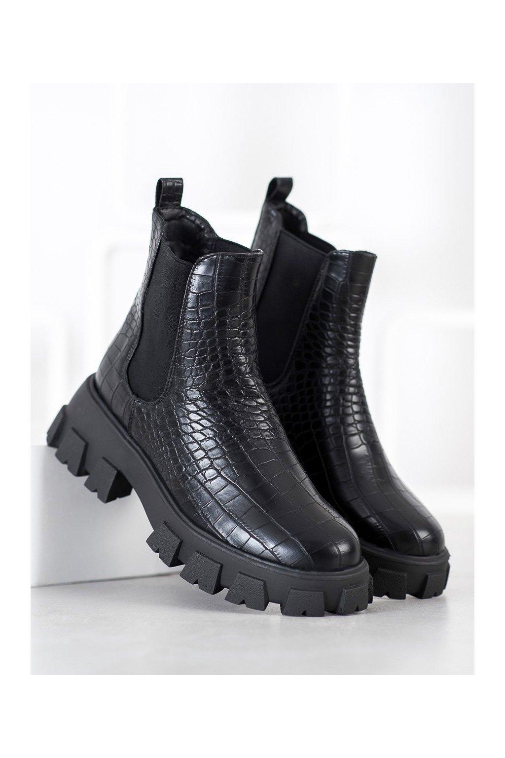 Čierne dámske topánky NJSK T2172B