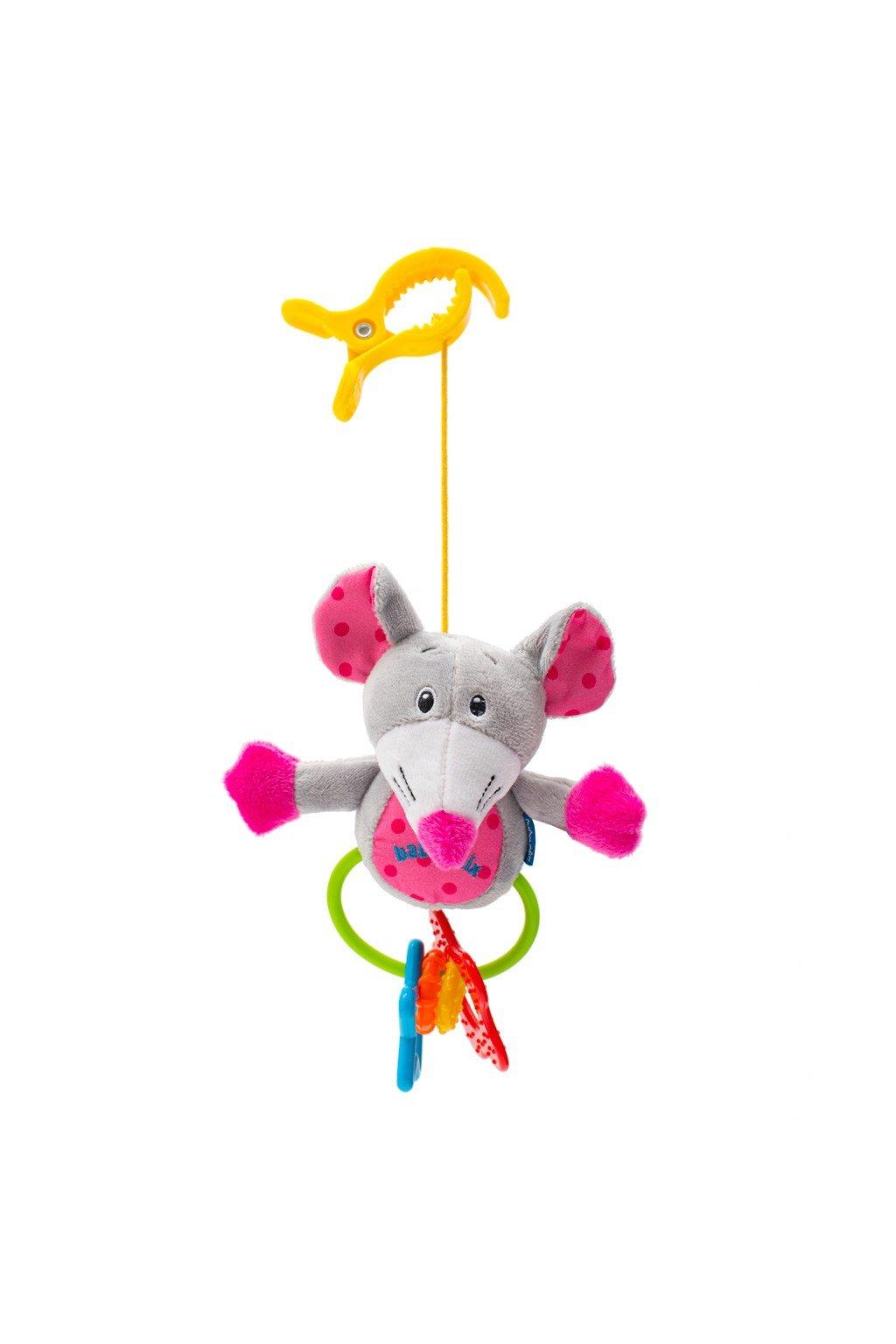 Detská plyšová hračka s hrkálkou Baby Mix myš