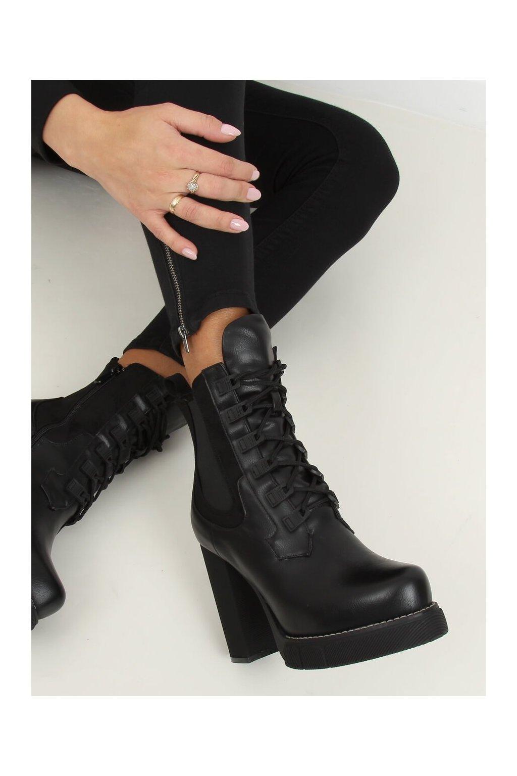 Dámske členkové topánky čierne NJSK DF3718