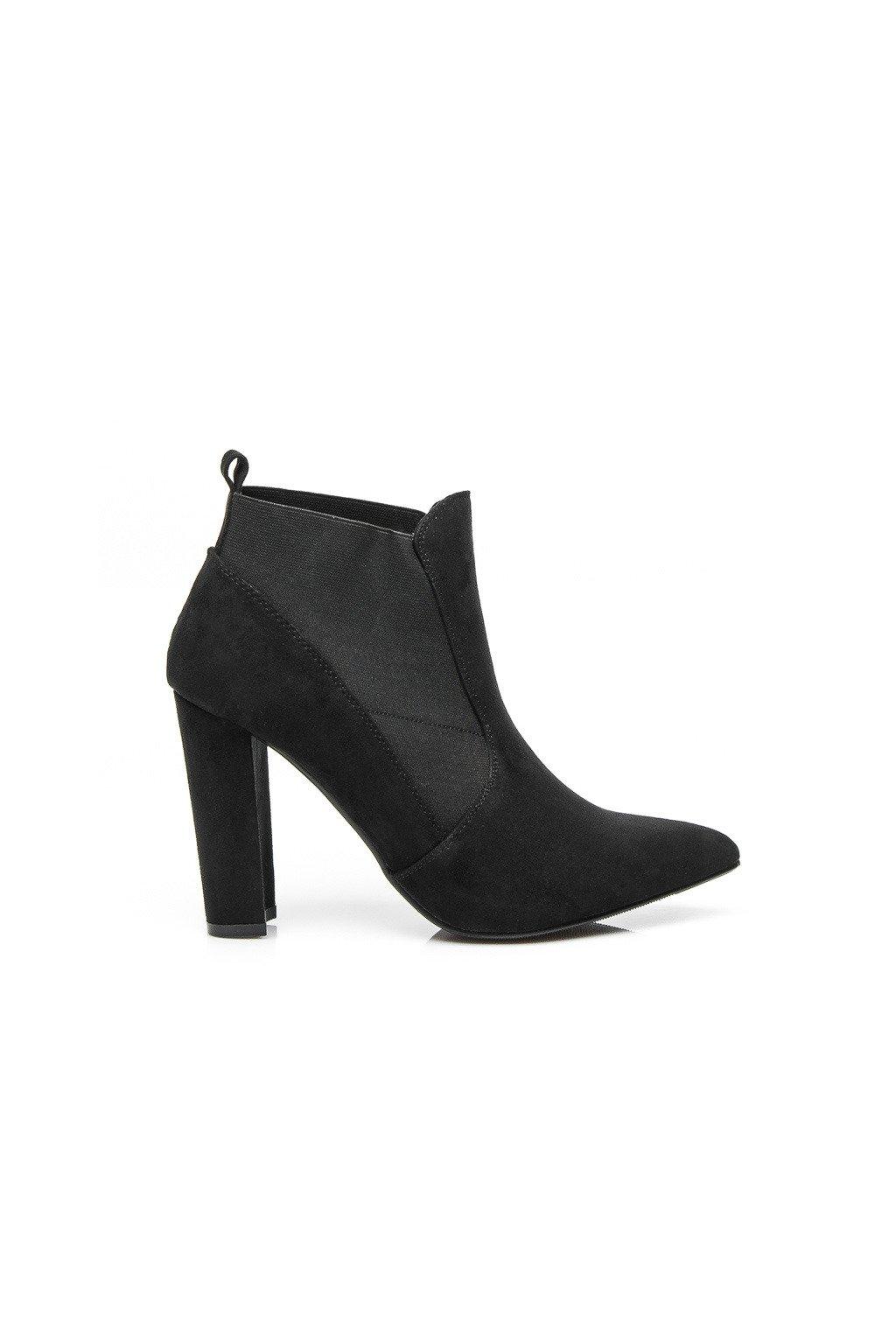 Čierne topánky na opätku 2146-6B / S3-130P veľ.č. 37, 40 (Veľkosť UK7 / EUR 40)