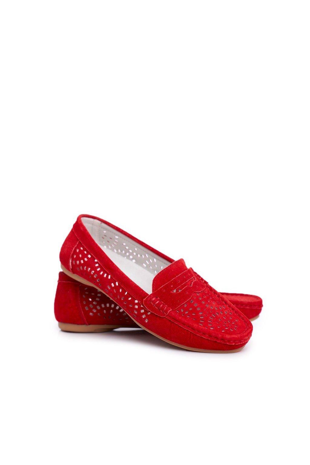 Dámske mokasíny farba červená NJSK LR92309 RED