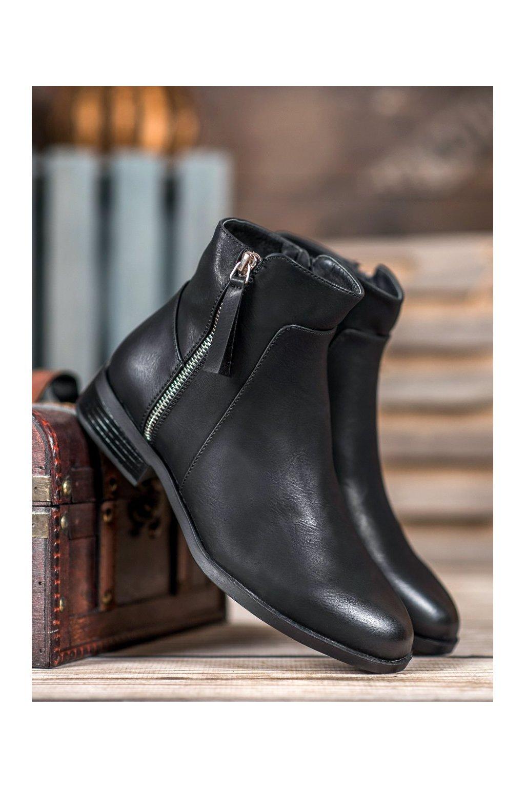 Čierne dámske topánky NJSK 1002-PA