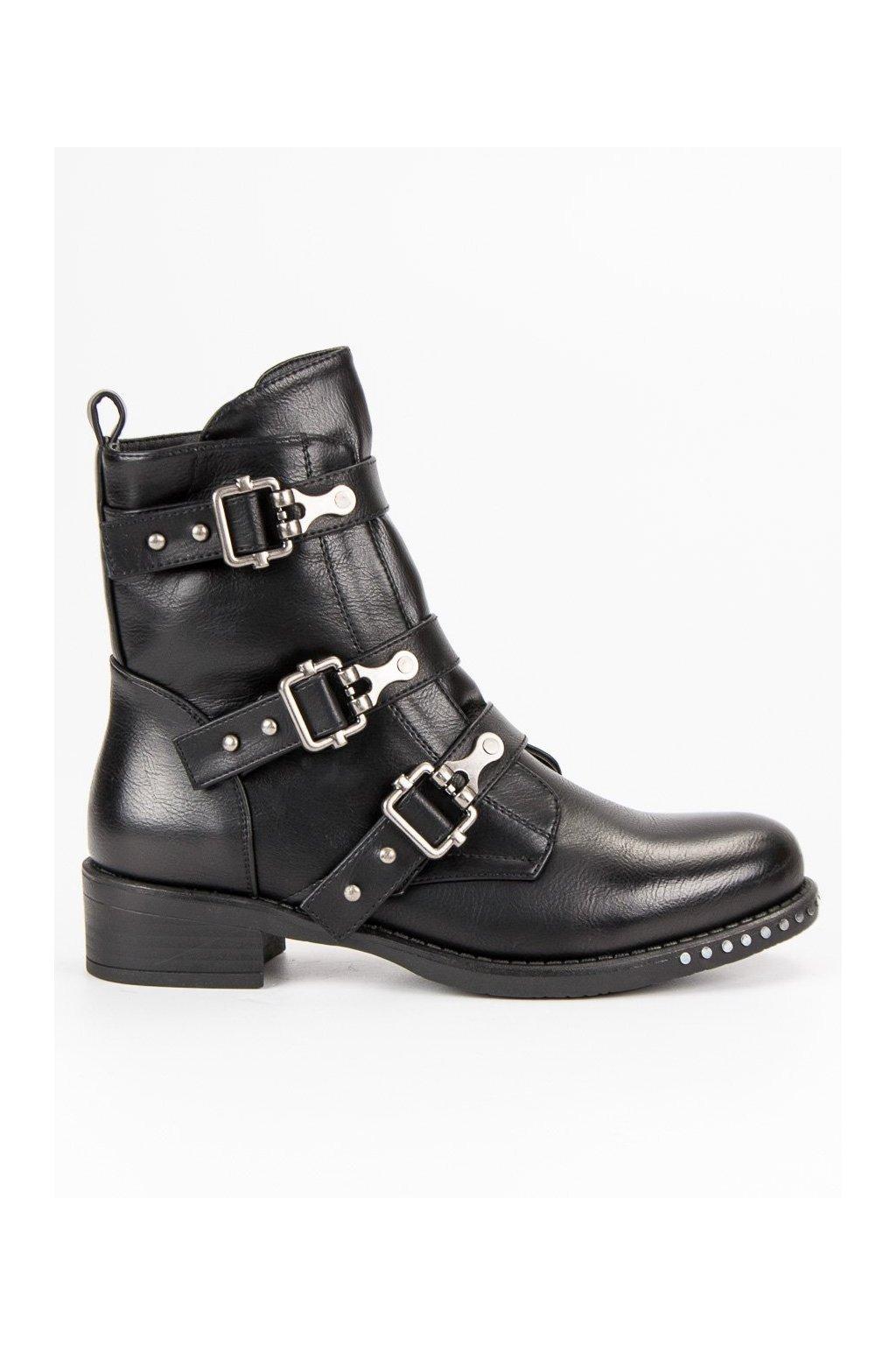 Dámske rockové kotníkové topánky na jeseň čierne NS08B