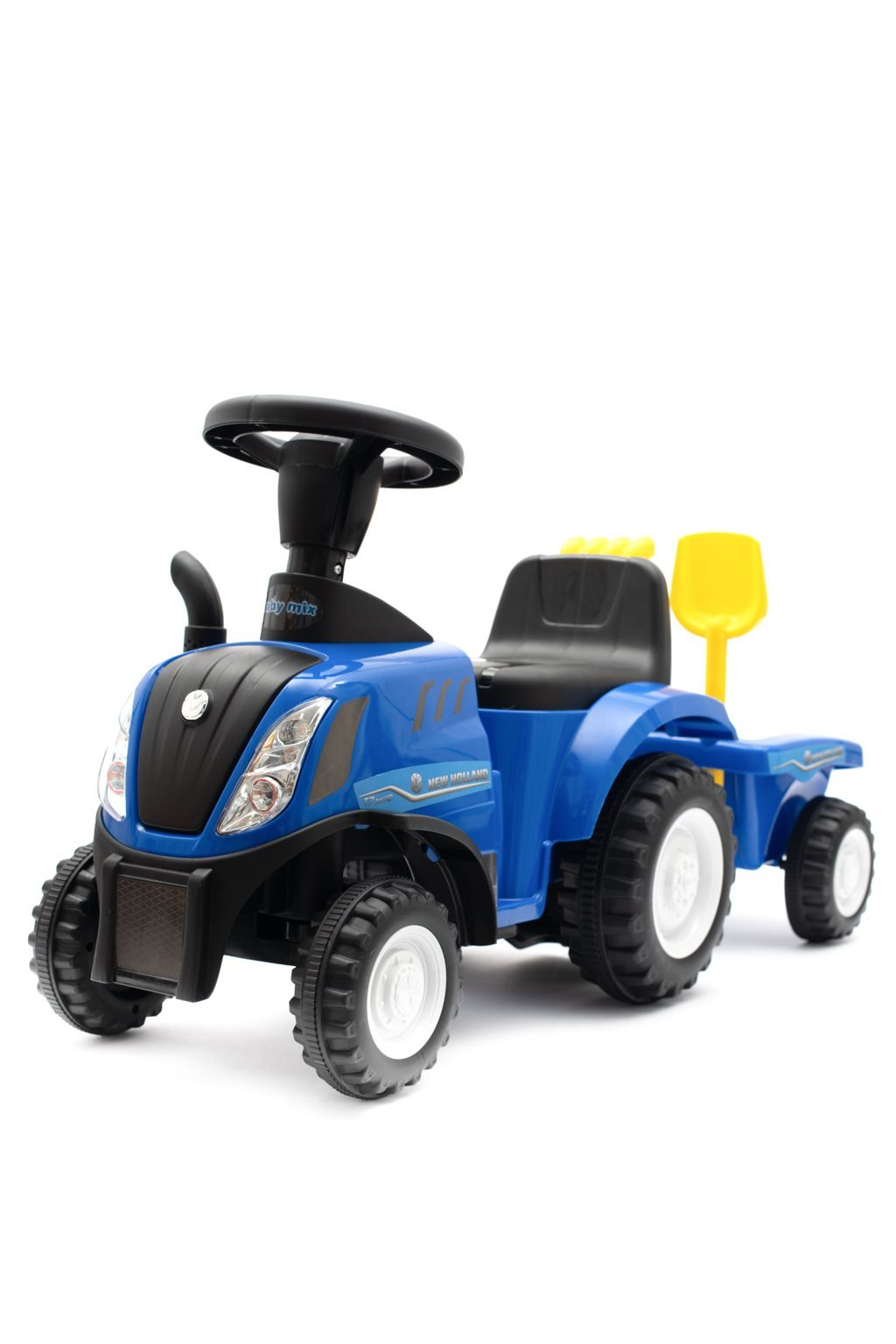 Detské odrážadlo traktor s vlečkou a náradim Baby Mix New Holland modrý