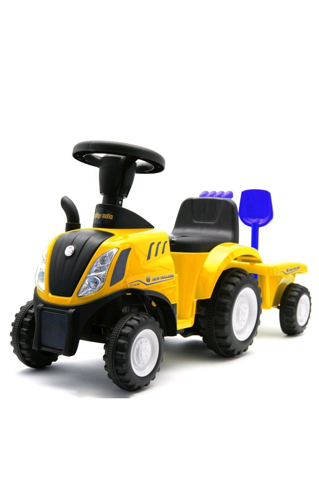 Detské odrážadlo traktor s vlečkou a náradim Baby Mix New Holland žltý