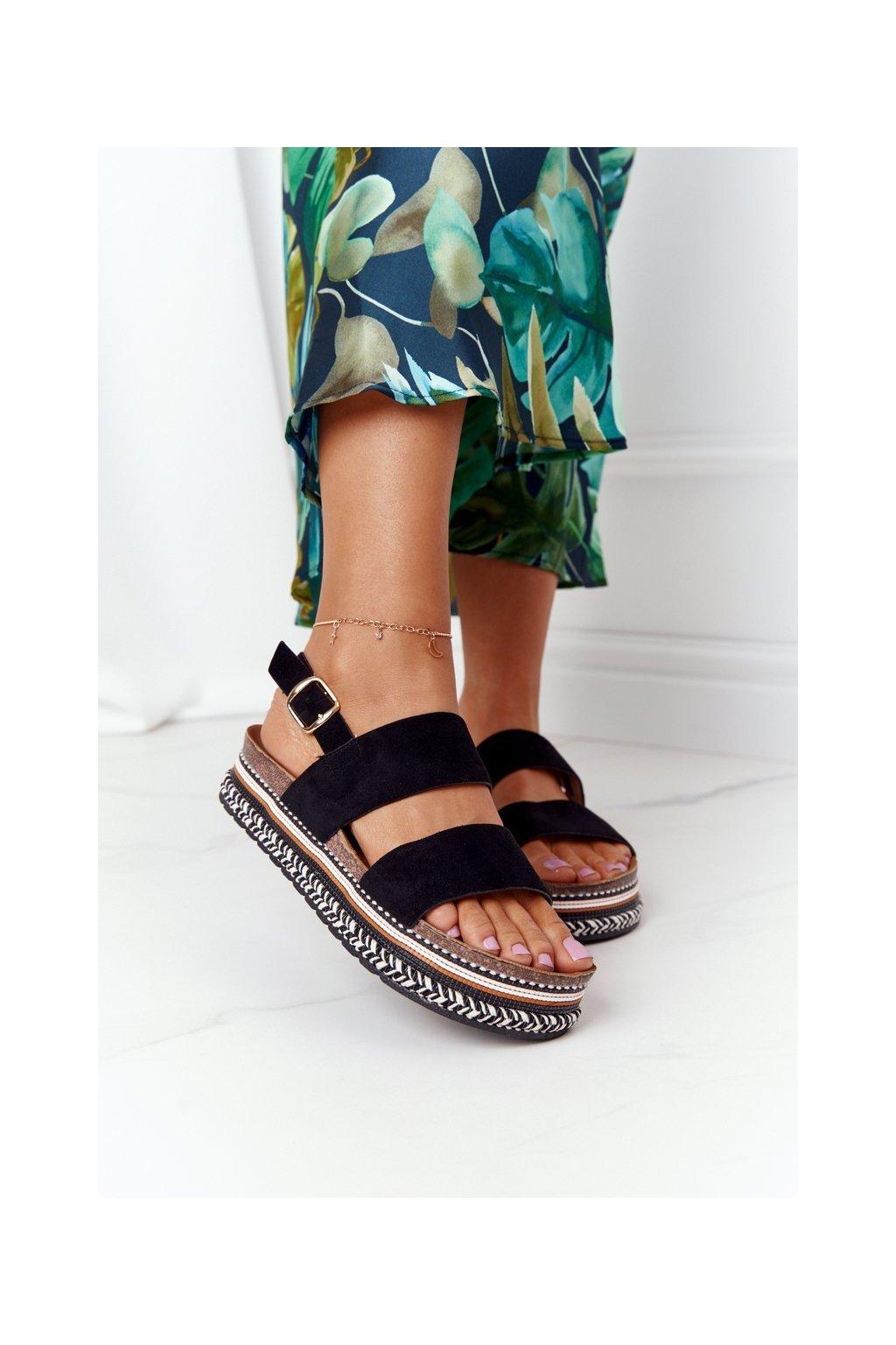 Dámske sandále farba čierna kód obuvi 7857 BLACK