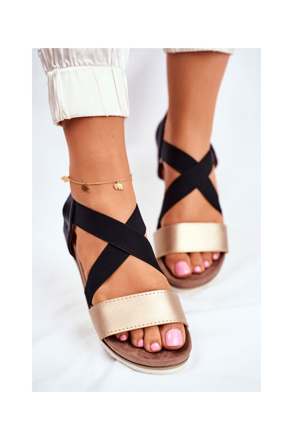 Čierne sandále NJSK 20SD35-0316 BLK GOLD