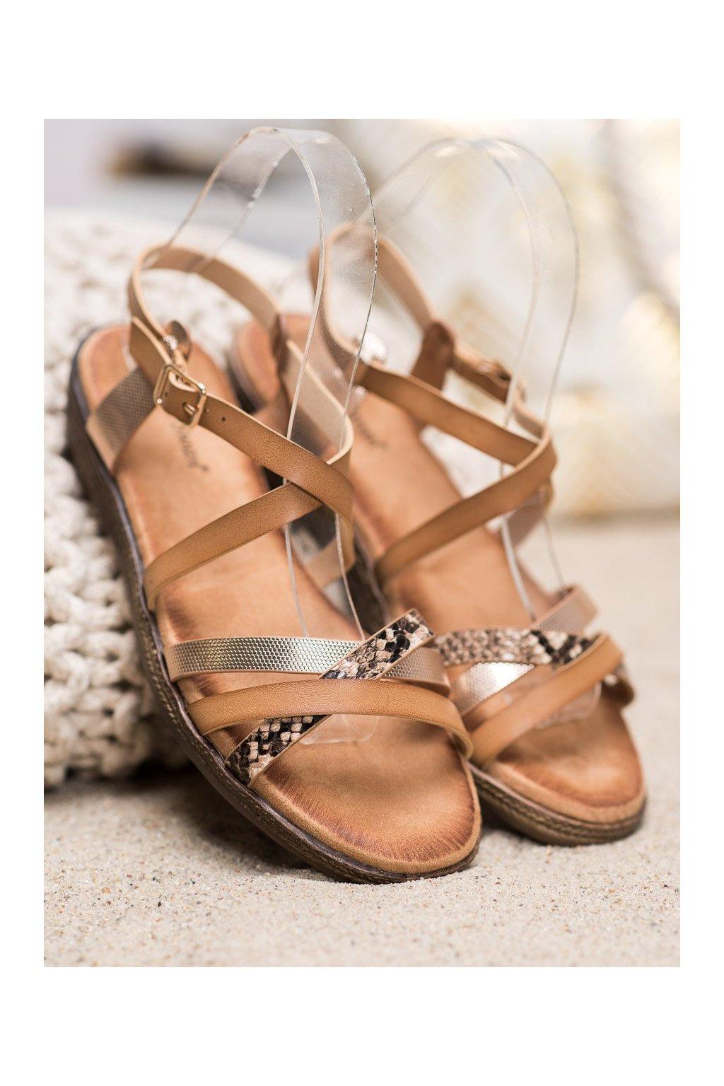 Hnedé sandále NJSK LNS78BE