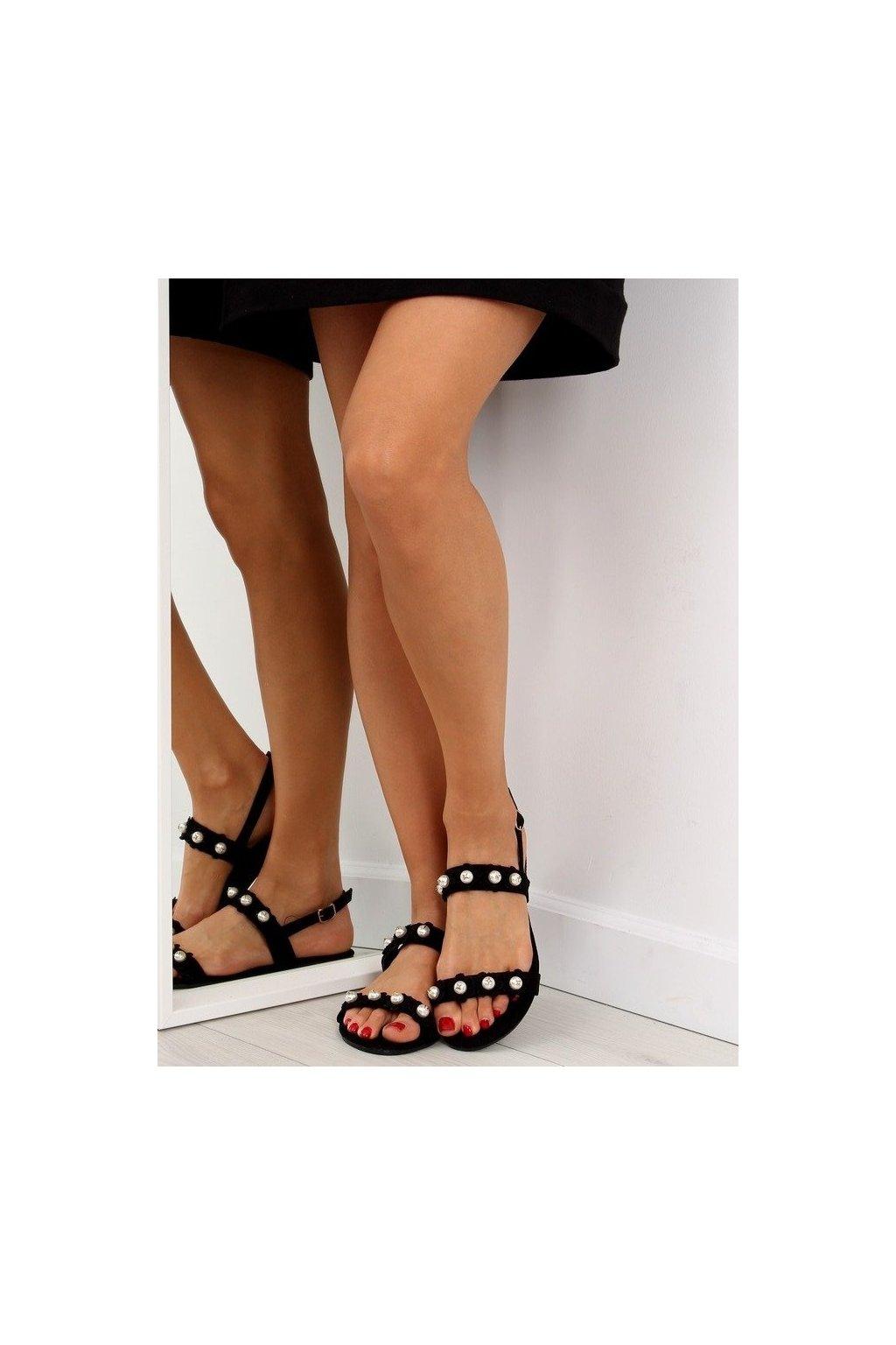 Dámske sandále čierne na plochom podpätku 55-66