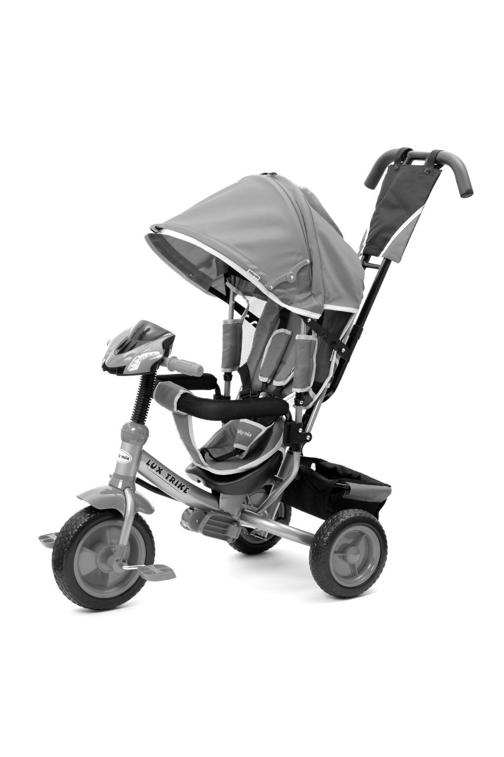 Detská trojkolka so svetlami Baby Mix Lux Trike sivá