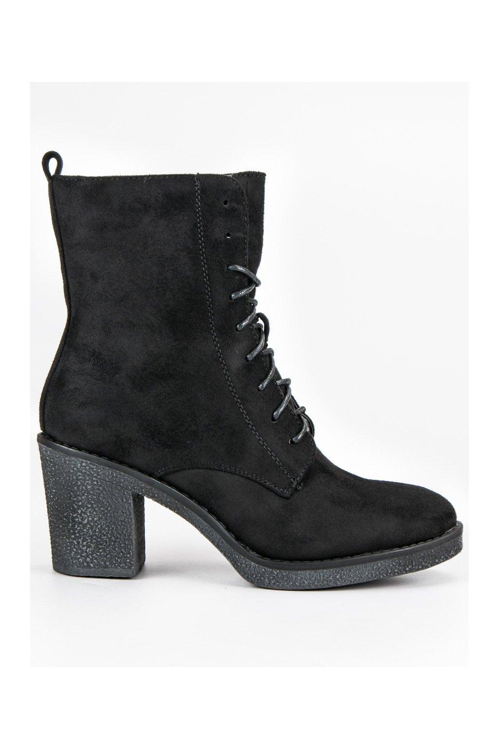 Čierne členkové topánky na hrubom opätku Super Mode